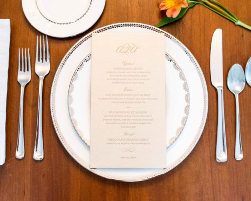 Gold and Ivory Wedding Menu
